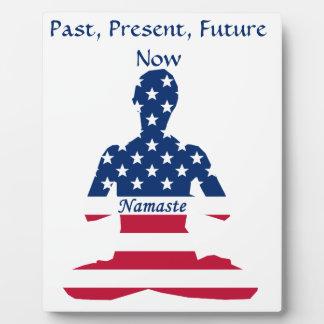 Flag of USA meditation American yoga Plaque