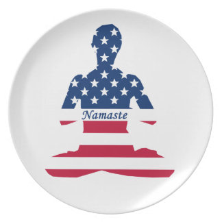 Flag of USA meditation American yoga Plate