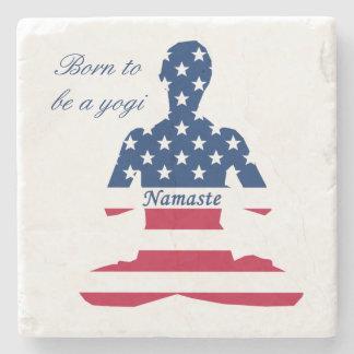 Flag of USA meditation American yoga Stone Coaster
