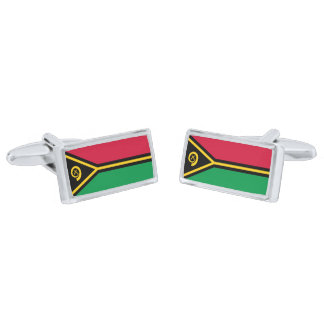 Flag of Vanuatu Cufflinks Silver Finish Cufflinks