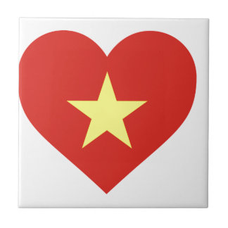 Flag of Vietnam - I Love Viet Nam - Cờ đỏ sao vàng Small Square Tile
