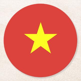 Flag of Vietnam Round Paper Coaster