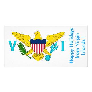 Flag of Virgin Islands, Happy Holidays from U.S.A. Custom Photo Card
