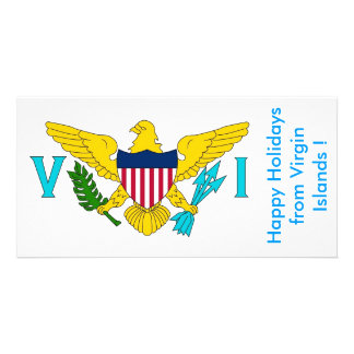 Flag of Virgin Islands, Happy Holidays from U.S.A. Picture Card