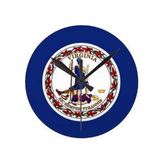 Flag Of Virginia Round Clock