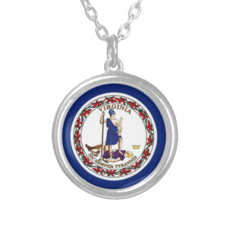 Flag Of Virginia Silver Plated Necklace