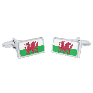 Flag of Wales Cufflinks Silver Finish Cuff Links