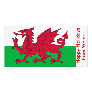 Flag of Wales, Happy Holidays from U.K. Photo Greeting Card