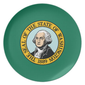 Flag Of Washington Plate