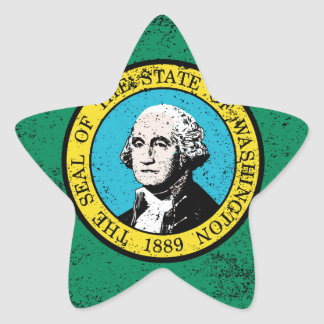 Flag of Washington State With Grunge Star Sticker