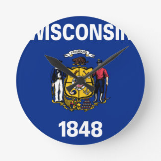 Flag Of Wisconsin Round Clock