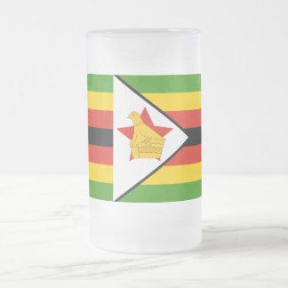 Flag of Zimbabwe Africa Frosted Glass Beer Mug