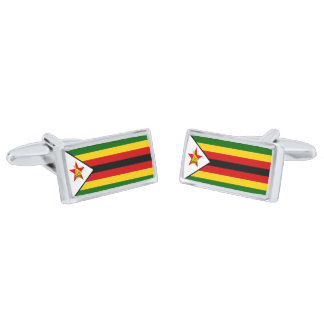 Flag of Zimbabwe Cufflinks Silver Finish Cufflinks