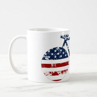 flag patriotic United States of America biking Basic White Mug