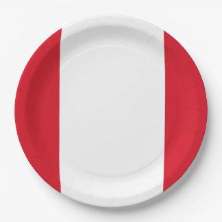 Flag: Peru 9 Inch Paper Plate