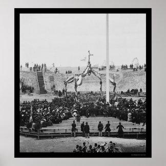 Flag Raising at Fort Sumter near Charleston 1865 Poster