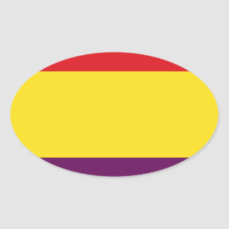 Flag Republic of Spain - Bandera República España Oval Sticker