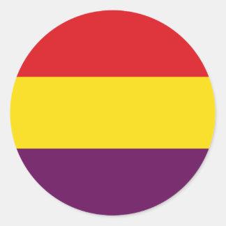 Flag Republic of Spain - Bandera República España Round Sticker