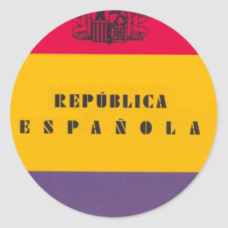 Flag Republic of Spain - Bandera República España Round Sticker