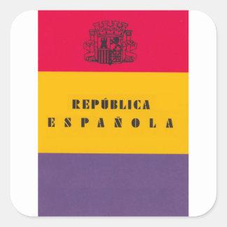 Flag Republic of Spain - Bandera República España Square Sticker