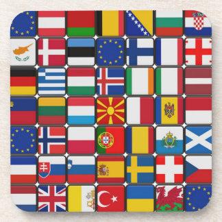 Flag Squares on Square Cork Coasters (Set of 6)