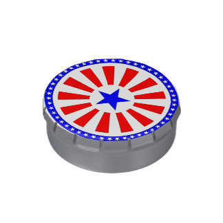 Flag sticker jelly belly candy tins