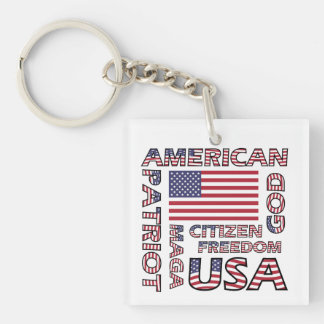 Flag Text US Stars and Stripes Patriot Key Ring