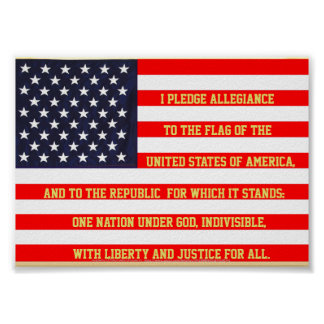 FLAG UNITED STATES WITH PLEDGE WORDS POSTER