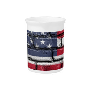 Flag Usa America Wall Painted American Usa Flag Pitcher