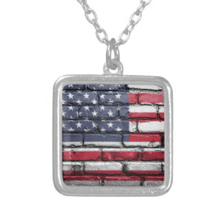 Flag Usa America Wall Painted American Usa Flag Silver Plated Necklace