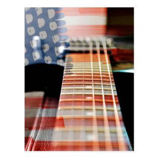 Flag Usa Banner Guitar Electric Guitar Postcard