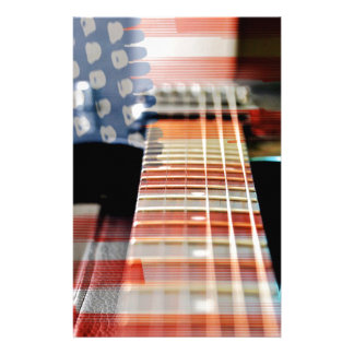 Flag Usa Banner Guitar Electric Guitar Stationery