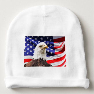 flag USA Patriotic stars stripes eagle honor Baby Beanie