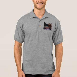 FLAG WAVING , OBAMA/BIDEN 2008 POLO SHIRT