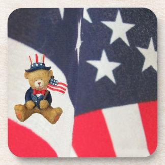 Flag Waving USA Teddy Bear Drink Coasters