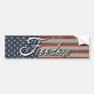 Flag with Freedom Car Bumper Sticker