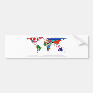 Flagged World - Map of Flags of the World Bumper Sticker