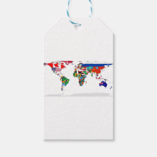 World map gift tags zazzle flagged world map of flags of the world gift tags gumiabroncs Image collections