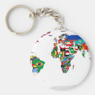 Flagged World - Map of Flags of the World Key Ring