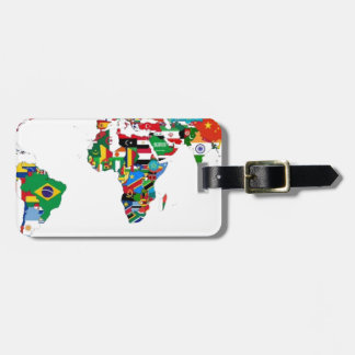 Flagged World - Map of Flags of the World Luggage Tag