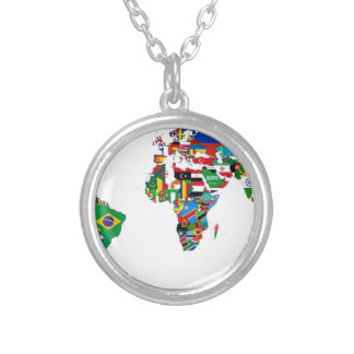 Flagged World - Map of Flags of the World Silver Plated Necklace