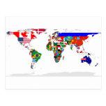 flagged world postcard