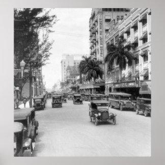 Flagler Street, Miami, 1926 Print