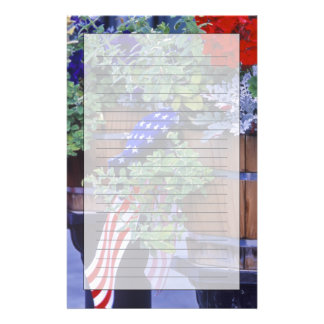 Flags and Flowers in Philipsburg Montana Customized Stationery