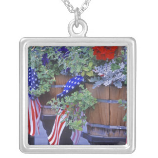 Flags and Flowers in Philipsburg Montana Square Pendant Necklace