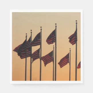 Flags at Sunset I American Patriotic USA Disposable Serviettes