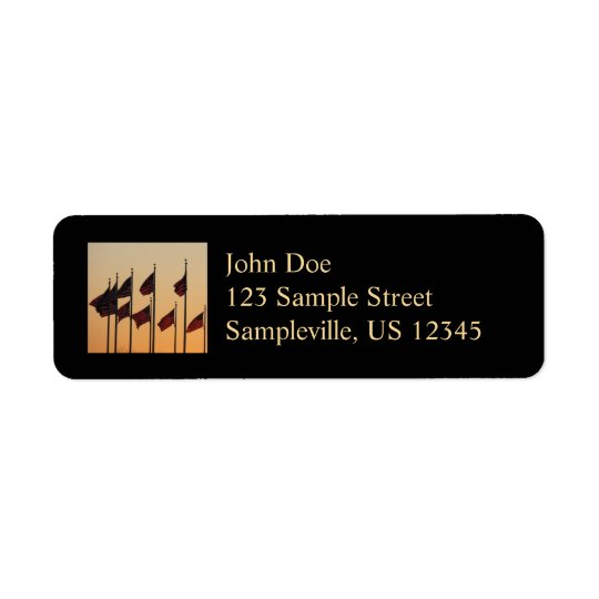 Flags at Sunset I American Patriotic USA Return Address Label