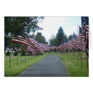 Flags in Cemetery Note Card