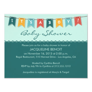 Flags It's A Boy Baby Shower Invitation