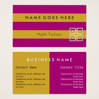 """Flags"" Math Tutor Business Cards"
